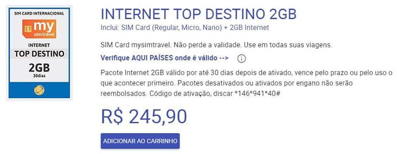 Pacote de chip e internet para a América do Sul