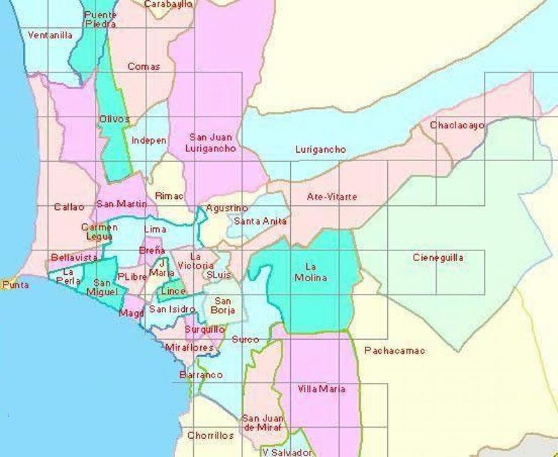 Mapa de bairros e regiões em Lima