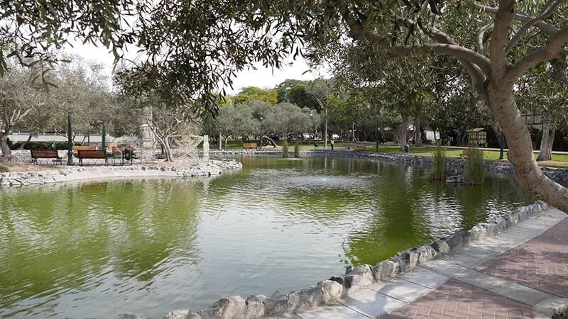 Lago do Parque el Olivar em Lima