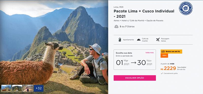 Pacote Lima + Cusco Individual por R$ 2.229