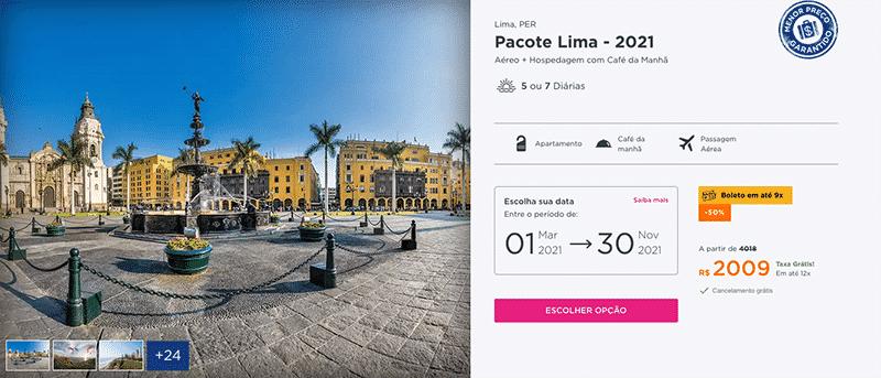 Pacote Hurb para Lima por R$ 2.009