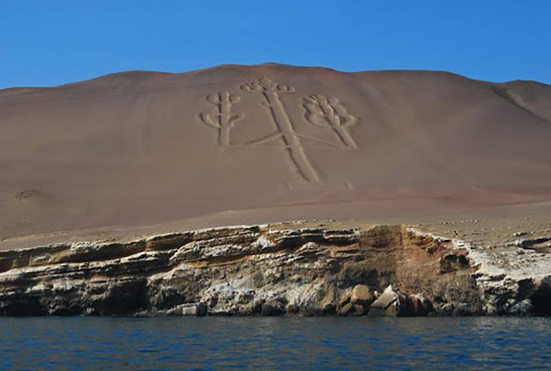 Desenho de Candelabro do Deserto de Paracas no Peru